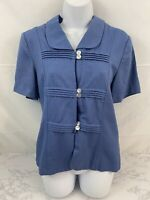 Mosaic Short Sleeve Button Down Blouse Womens14 Blue Shoulder Pads Top K1
