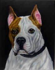 Staffordshire Terrier Dog Oil Painting Animal Pet Portrait Realism Style