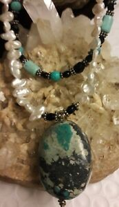 """Designer Fine Sterling Silver Pearl Turquoise Pendant 18"""" Double beaded Necklace"""