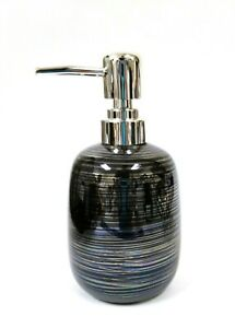 NEW BLACK CERAMIC SPIRAL SOAP,LOTION DISPENSER WITH POLISHED SILVER CHROME PUMP