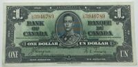 1937 Bank Of Canada Coyne Towers L/N One Dollar Bank Note BK9