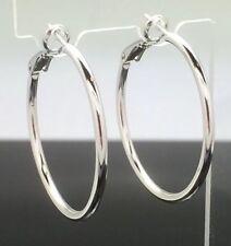 Medium Large Round Hoop Earrings 3.5cm 14ct White Gold GF Wedding Shiny Silver