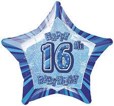 """16TH BIRTHDAY CELEBRATIONS""     16th Glitz Blue 20"" Foil Balloon!"