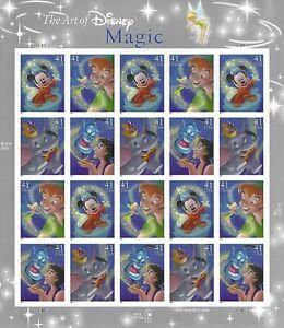 Art of Disney Magic 41 Cent USPS Stamp Sheet 20 Stamps 41c Aladdin Peter Pan '06