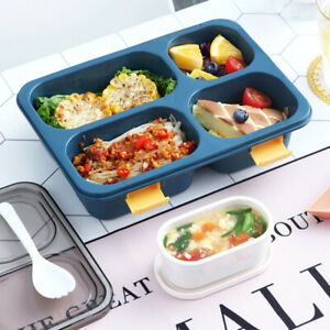 Bento Box Plastic Lunch Container w/ Compartments For Kids Adults Microwave Safe