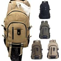Men's Vintage Canvas Backpack Satchel Outdoor Travel Hiking Rucksack School Bag