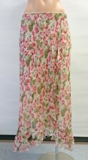 Women LAURA ASHLEY Summer Silk Ruffle Floral Skirt Size 16 Buy7=FreePost L371