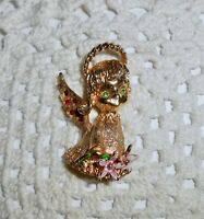 Vintage MYLU Signed Enamel Christmas Angel Brooch Pin Red & Green Rhinestone C50