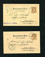 """Österreich - """"Imst"""" auf 2 Ganzsachen 1886 und 1888  (#708)"""