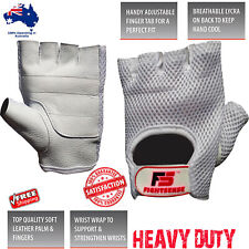 Heavy Duty WEIGHT LIFTING WORKOUT Training Motorcycle LEATHER Gym Gloves