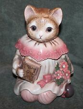 """NICE VINTAGE CAT IN A DRESS WITH DOLL EYES CERAMIC COOKIE JAR 12"""" TALL JAPAN"""