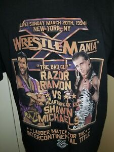Wrestlemania 10 Shawn Michaels vs Razor Ramon WWE Poster T-shirt Large New