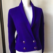 Hosanna Vintage 80s Womens Cropped Double Breasted Sweater Purple Blue D1 Violet