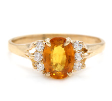 1.65Ct Natural Orange Sapphire & Diamond 14K Solid Yellow Gold Ring