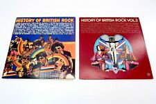 Lot of 2 HISTORY OF BRITISH ROCK Vintage LP Vinyl Records ~ Volume 1 and 2