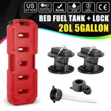 20l 5 Gallon Gas Container Backup Fuel Can Pack Tank 2pc Lock For Jeep Suv Atv