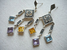 Sterling Silver 925 Marcasite Pastel Stones Dangle Earrings  RE2462
