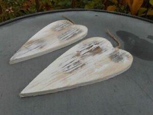 Zauberhafter Deko-Hänger 2 Herzen Herzanhänger Holz weiss shabby 22 cm inkl. VK.