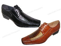 New Men's Dress Shoes Alligator Crocodile Lace Up Oxfords Western Leather Lined