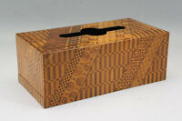 Japan HAKONE YOSEGI ZAIKU Wood Mosaic Tissue Paper Box Free Ship 724r10