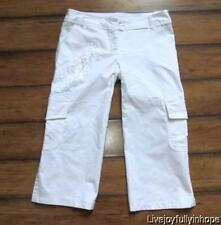 XOXO ~ Size 7 ~ White Embroidered Sequin Embellished Cropped CARGO Capris Pants
