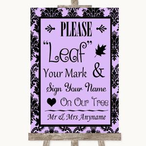 Wedding Sign Poster Print Lilac Damask Fingerprint Tree Instructions