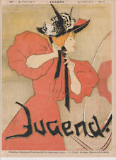 "1897-VINTAGE ART NOUVEAU-JUGEND PRINT LITHO SIGNED- ""BEAUTIFUL WOMAN""-1"