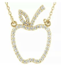 """Diamond Apple 16.7"""" Necklace In 14K Yellow Gold (1/5 ct. tw.)"""