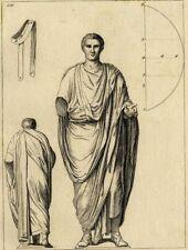 Antiquité Robe Toge Costume Romain  Gravure originale XVIIIème