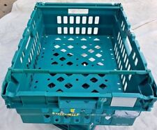 CRATES BOXES, STACKABLE STORAGE BOX BASKET CONTAINER GREEN BALE ARM  600x400x200