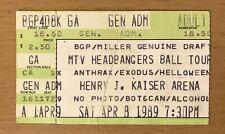 1989 Anthrax Exodus Helloween Oakland Concert Ticket State Of Euphoria Tour Mtv