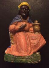 antike Krippenfigur aus Pappmaché - König