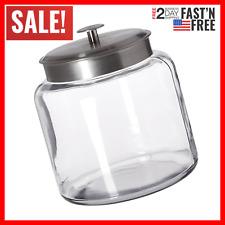 Anchor Hocking Montana Glass Jar with Airtight Lid Brushed Metal 1.5 Gallon
