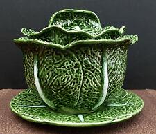 Majolika Keramik Schüssel mit Deckel und Unterteller im Wirsingkopf - Design !!!