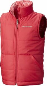 COLUMBIA Ice Chips II REVERSIBLE Vest youth RED & Plaid Fleece (L 14/16) *New
