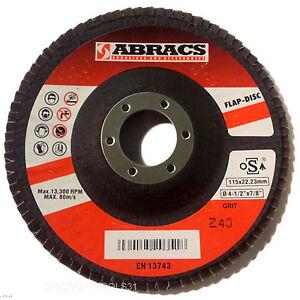 "Abracs 4.5"" (115mm) 40 Grit Zirconium Flap Discs Box of 25"