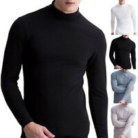 Men's Warm T-shirt Long Sleeve Turtleneck Jumper Undershirt High Neck Tee Tops