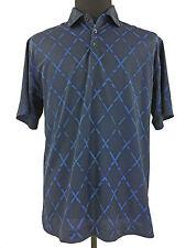 Nike Mens Dry-Fit Diamonds Dark Blue Short Sleeve Golf Polo Shirt Size Medium M