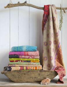 Indian Vintage Kantha Quilt Lot Handmade Bedspread Throw Cotton Twin Blanket