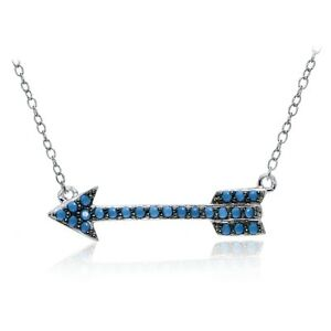 Sterling Silver Nano Simulated Turquoise Arrow Necklace