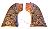 """Heritage Arms Rough Rider 6 & 9 Shot Grips Carved Rosewood Scroll """"Gold Rush"""" !"""