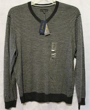 NWT Club Room Mens Gray Vneck Striped Merino Wool Blend Sweater ~ Size XL ~ $70