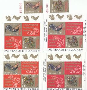 """PHILIPPINES, 1993,""""YEAR OF COCK"""" STAMP SET+ 4 S/S 2 WITH OVERPRINT MINT NH FRESH"""