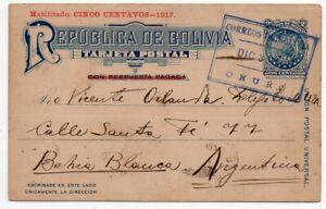 1926 BOLIVIA TO ARGENTINA RARE STATIONERY COVER, ESPERANTO LANGUAGE !!