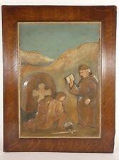 Vintage BAS RELIEF Wood Carving PAARUP Monk Maltese Cross Knight FOLK ART