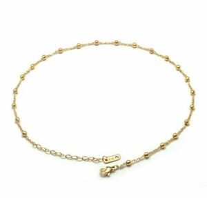 """Gold Plated Titanium Stainless Steel 3.5mm Bead Chain Choker Necklace 14-16"""""""