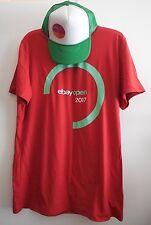 2017 eBay Logo Open Unisex Red Tee Shirt L & Green Baseball Golf Cap Brand New