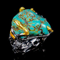 Turquoise Ring Silver 925 Sterling Handmade Size 8 /R128878