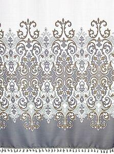 Sicily Grey Floral Fabric Shower Curtain Elegant Grey Bronze White Fringe NWOP