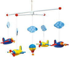 COLOURFUL WOODEN TOY BABY HANGING NURSERY AEROPLANE FLIGHT BALLOON MOBILE PLANES